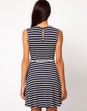 Image 2 ofASOS Skater Dress In Stripe With Belt