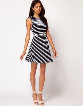 Image 4 ofASOS Skater Dress In Stripe With Belt
