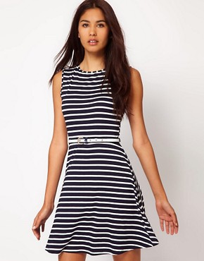 Image 1 ofASOS Skater Dress In Stripe With Belt