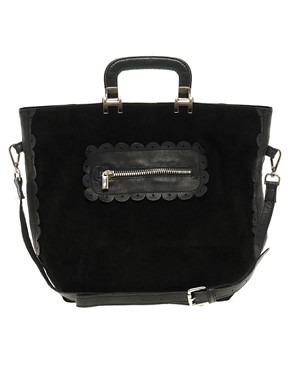 Image 1 ofASOS Suede And Leather Shopper Bag With Scallop Detail