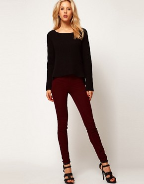 Image 4 of River Island Oxblood Denim Molly Jeggings