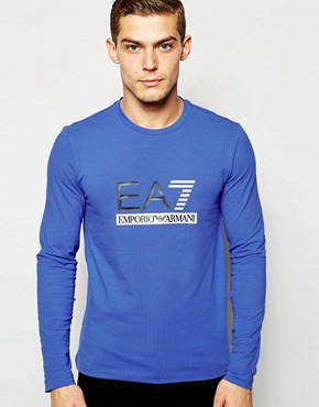 EA7 T-Shirt In Muscle Fit With Logo Long Sleeves