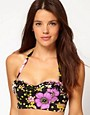 River Island Dita Floral Print Bustier Bikini Top