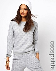 ASOS PETITE Exclusive Sweat Top with Reversible Heart And Stripe