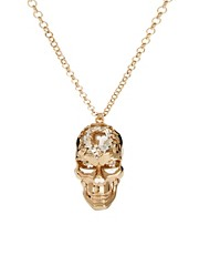 River Island Gold Crystal Talking Skull Long Pendant Necklace