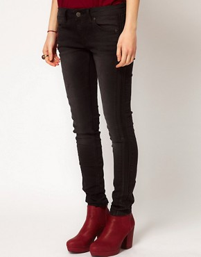 Image 1 of Free People Skinny Ankle Jeans with Vegan Leather Tuxedo Trim