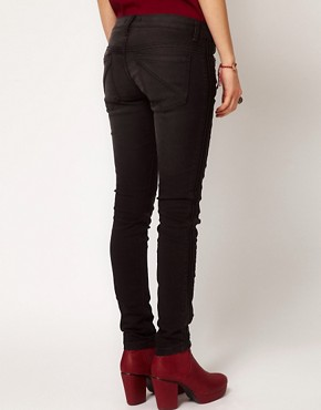 Image 2 of Free People Skinny Ankle Jeans with Vegan Leather Tuxedo Trim