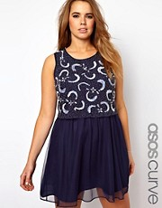 ASOS CURVE Skater Dress With Embellished Top
