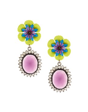 Image 1 ofASOS Pansy Pop Drop Earrings