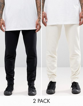 ASOS 2 Pack Skinny Jersey Joggers In Black And Beige Save 20%