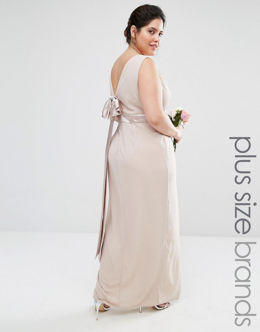 TFNC Plus Wedding Wrap Front Maxi Dress With Wrap Skirt And Bow Back -