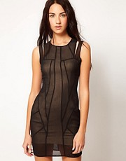 Factory By Erik Hart Sheer Dress With Cut Out Shoulders