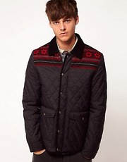 ASOS Quilted Jacket With Fairisle Trim