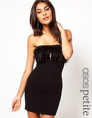 ASOS PETITE Exclusive Feather Strapless Dress