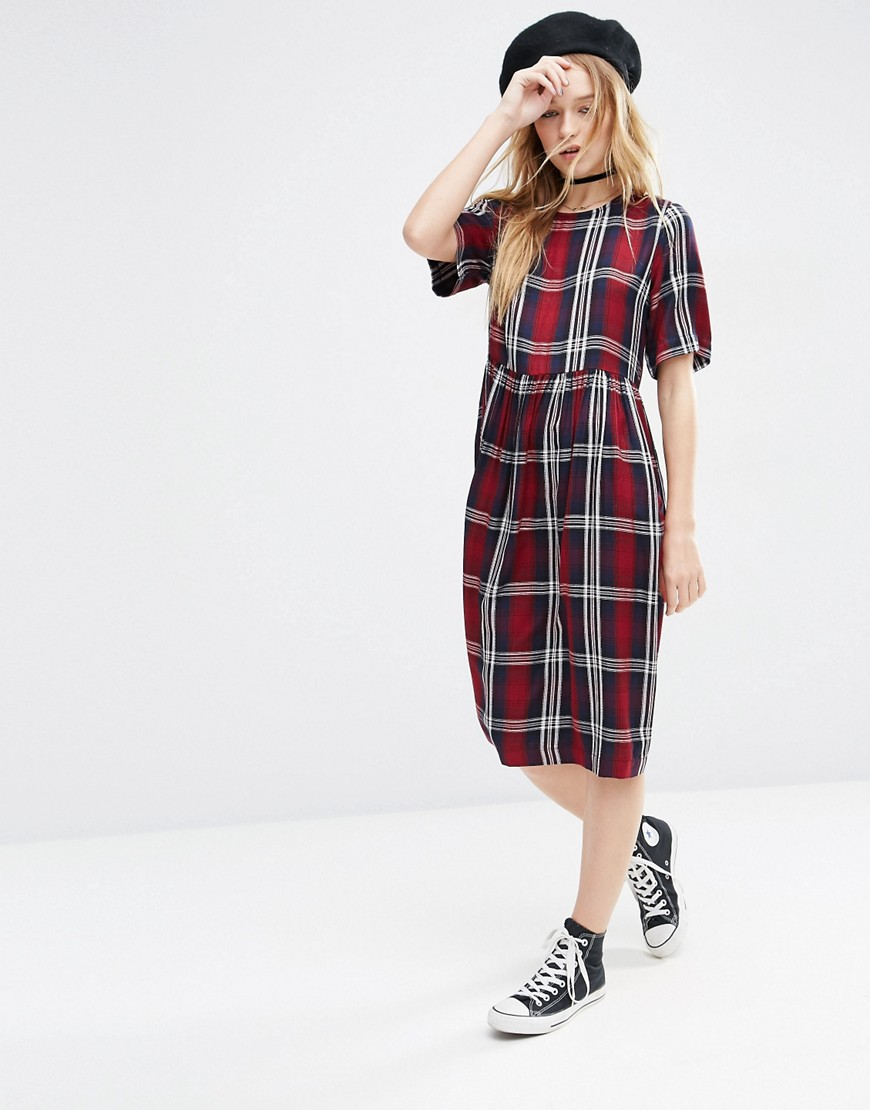 ASOS Short Sleeve Midi Smock Dress in Check - Multi