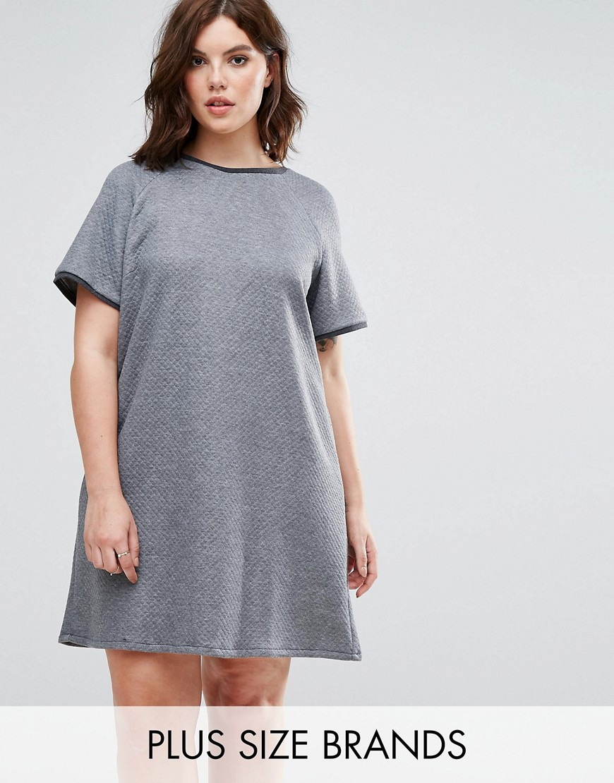 Elvi Grey Quilted Dress - Grey