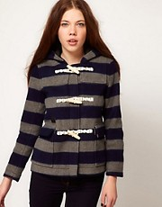 White Chocoolate Stripe Duffle Coat
