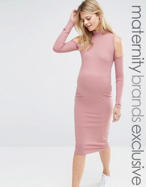 Club L Lounge Maternity Ribbed Cold Shoulder Dress