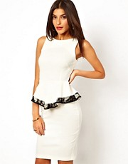 Vesper Pencil Dress With Peplum and Contrast Lace Trim
