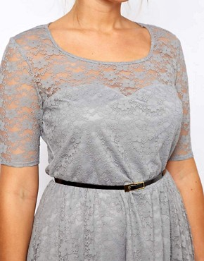 Image 3 ofASOS CURVE Lace Skater Dress With Belt