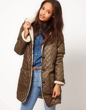 Image 1 ofASOS Longline Borg Lined Parka