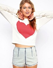 ASOS Cropped Jumper With Pink Heart