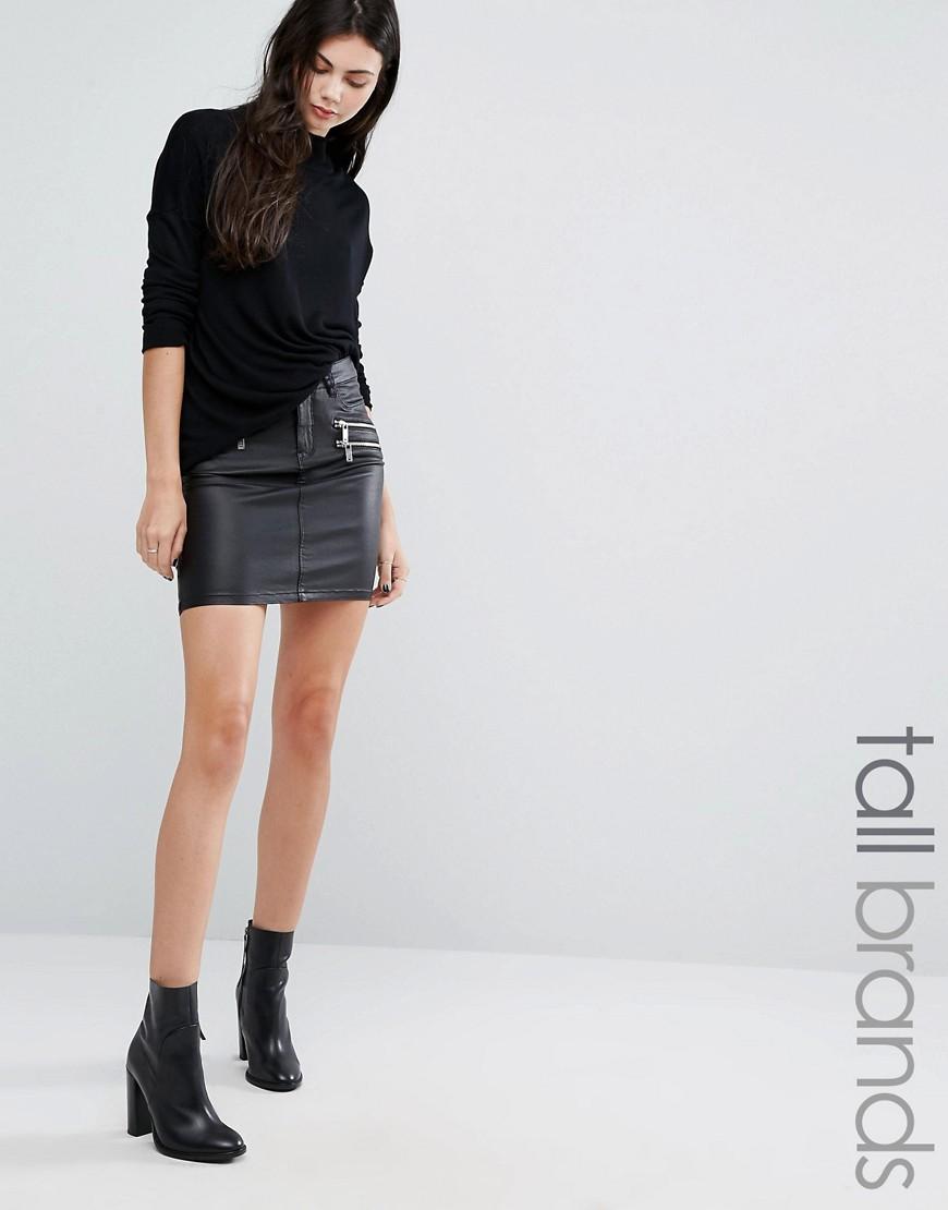 Vero Moda Tall - Beschichteter Minirock mit Reißverschlussdetail - Schwarz - Farbe:Schwarz