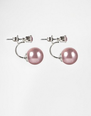ASOS Faux Pearl Crystal Swing Earrings