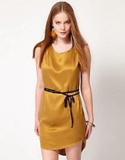 POP Cph Silk Oval Dress With Pleats And Suede Belt