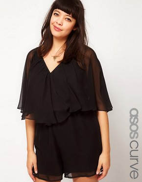 Image 1 ofASOS CURVE Playsuit With Cape Sleeve