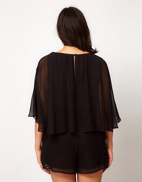 Image 2 ofASOS CURVE Playsuit With Cape Sleeve
