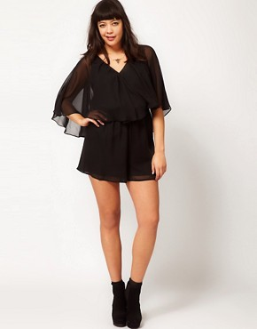 Image 4 ofASOS CURVE Playsuit With Cape Sleeve