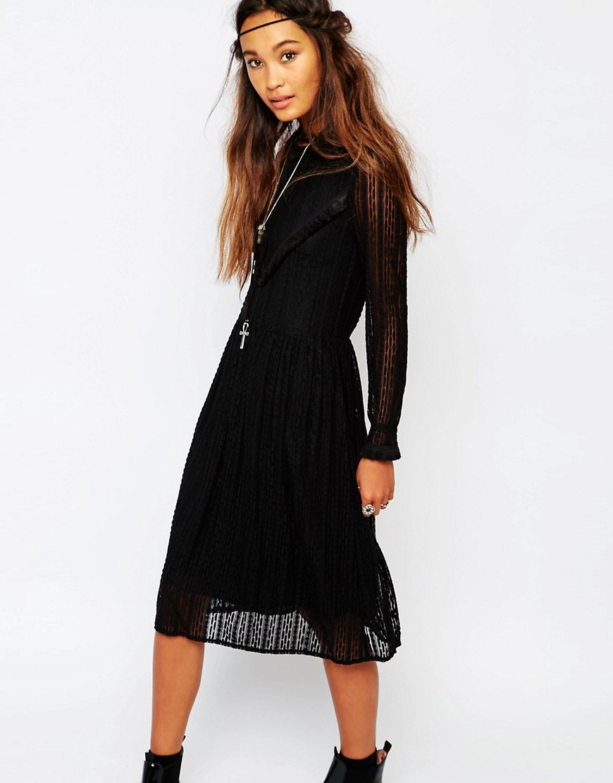 Navy London Smock Dress In Lace With V Panel - Black