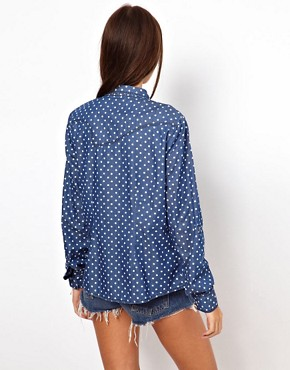 Image 2 ofOnly Polka Dot Denim Shirt