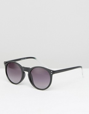 Pieces Round Sunglasses in Black