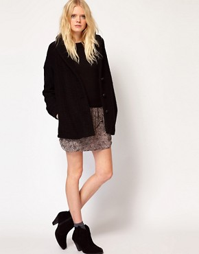 Image 4 ofVanessa Bruno Ath Coat in Wool Boucle with Leather Details