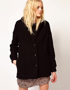 Image 1 ofVanessa Bruno Ath Coat in Wool Boucle with Leather Details
