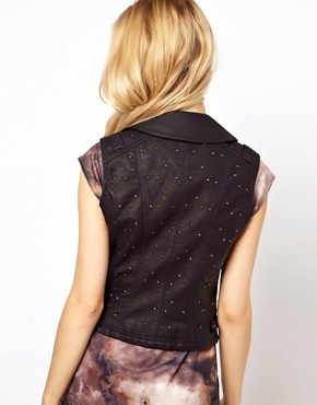 Image 2 ofRiver Island Leather Look Studded Gilet