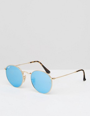 Ray-Ban Round Metal Flat Lens Mirror in Blue with Gold Frame