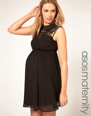 Image 1 ofASOS MATERNITY Mini Dress With Rose Applique