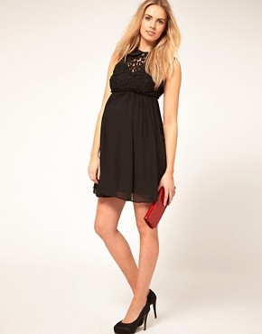 Image 4 ofASOS MATERNITY Mini Dress With Rose Applique