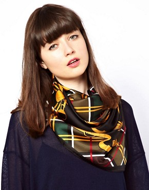 Image 1 ofBarbour Equestrian Silk Square Scarf