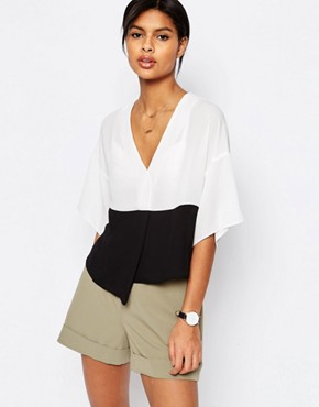 ASOS Mono Colour Block Cropped Obi Blouse