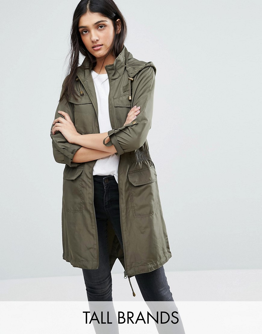 Brave Soul Tall Festival Military Trench - Green