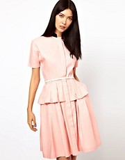 Antipodium Tweeter Dress with Peplum Detail