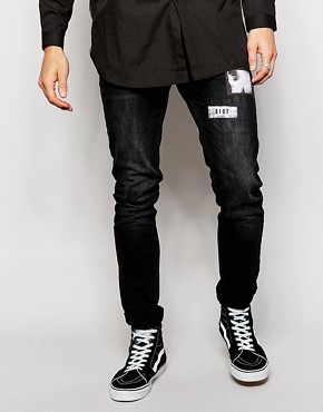 Religion Noize Skinny Fit Black Jeans With Patches