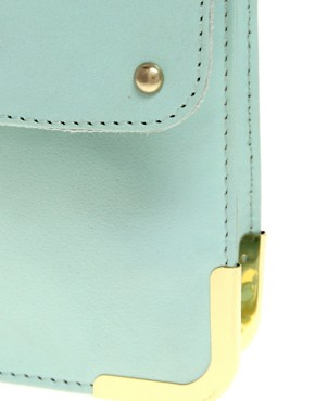 Image 2 ofASOS Leather Portfolio Clutch With Metal Tip