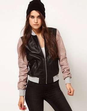 Image 1 ofASOS Contrast Leather Bomber Jacket