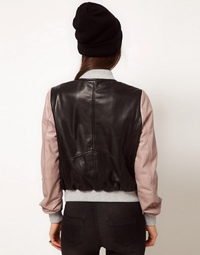 Image 2 ofASOS Contrast Leather Bomber Jacket