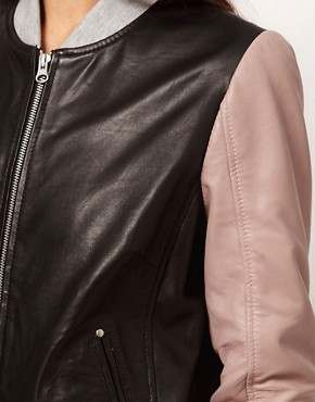 Image 3 ofASOS Contrast Leather Bomber Jacket
